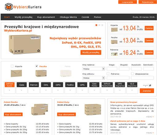 Strona internetowa brokera kurierskiego WybierzKuriera