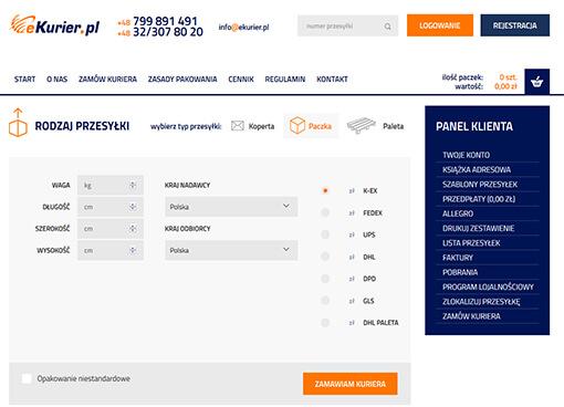 Strona internetowa brokera kurierskiego eKurier.pl