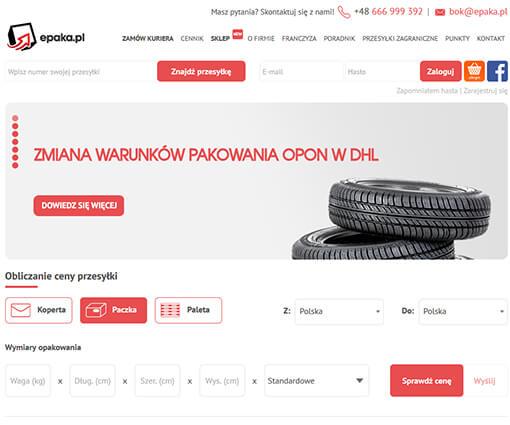 Strona internetowa brokera kurierskiego epaka.pl