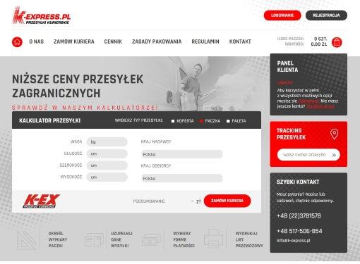 Strona internetowa brokera kurierskiego k-express.pl