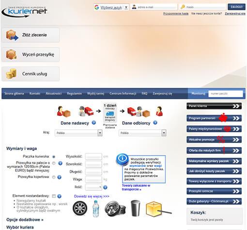 Strona internetowa brokera kurierskiego kuriernet