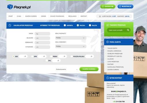 Strona internetowa brokera kurierskiego paqnek.pl