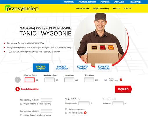 Strona internetowa brokera kurierskiego przesylanie.pl