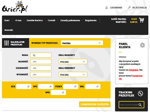 Strona internetowa brokera kurierskiego qrier.pl
