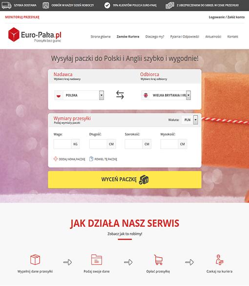 Strona internetowa brokera kurierskiego Euro_Paka