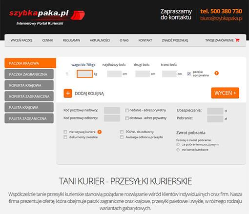 Strona internetowa brokera kurierskiego szybkapaka.pl