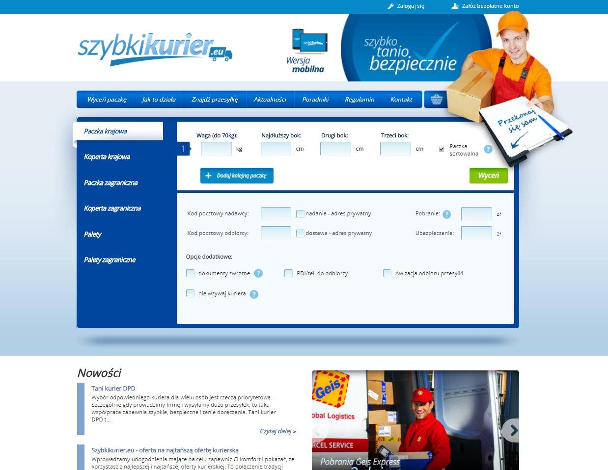 strona internetowa brokera kurierskiego szybkikurier.eu