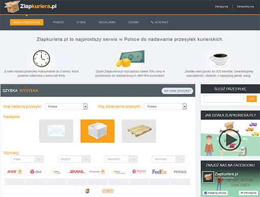 Strona internetowa brokera kurierskiego zlapkuriera.pl