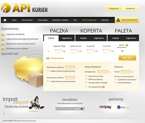 Strona internetowa brokera kurierskiego APIkurier
