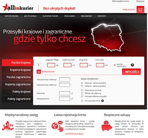 Strona internetowa brokera kurierskiego AllInKurier.pl