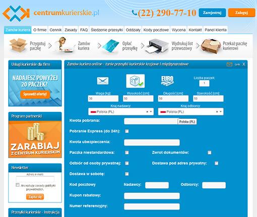 Strona internetowa brokera kurierskiego Centrumkurierskie.pl
