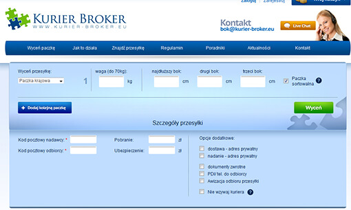 Strona internetowa brokera kurierskiego KurierBroker