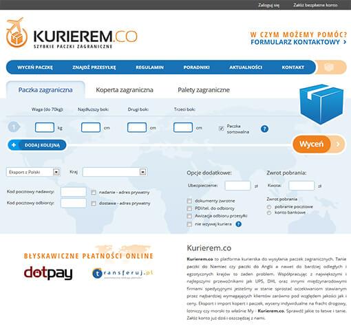 Strona internetowa brokera kurierskiego Kurierem.co