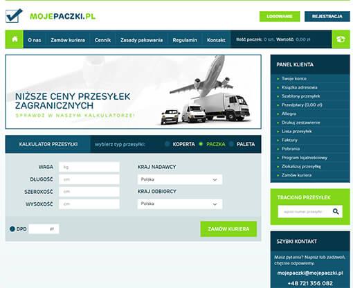 Strona internetowa brokera kurierskiego Mojepaczki.pl