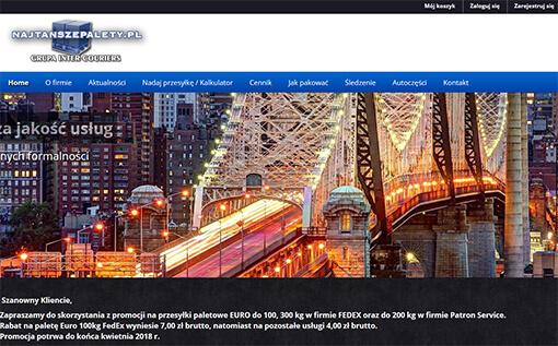 Strona internetowa brokera Najtanszepalety.pl kurierskiego