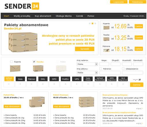 Strona internetowa brokera kurierskiego Sender24