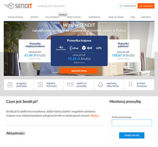 Strona internetowa brokera kurierskiego Sendit