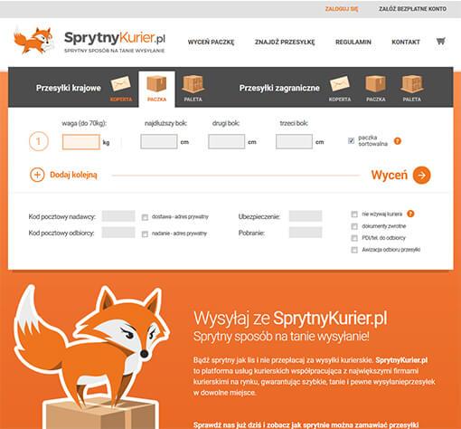 Strona internetowa brokera kurierskiego SprytnyKurier.pl