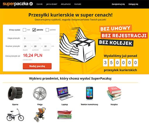 Strona internetowa brokera kurierskiego SuperPaczka.pl