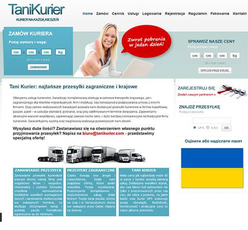 Strona internetowa brokera kurierskiego TaniKurier