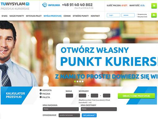 Strona internetowa brokera kurierskiego TuWysylam.pl