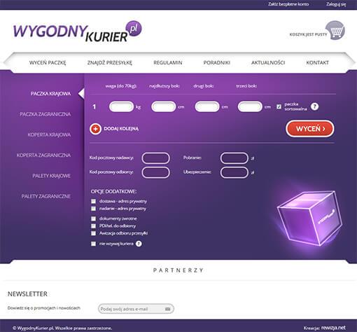 Strona internetowa brokera kurierskiego Wygodnykurier.pl