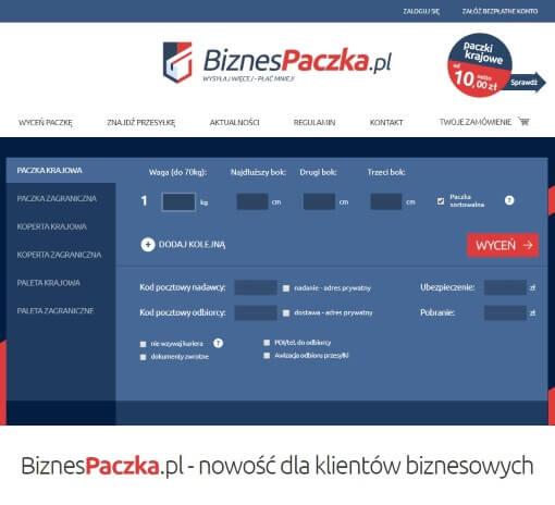 Strona internetowa brokera kurierskiego biznespaczka.pl