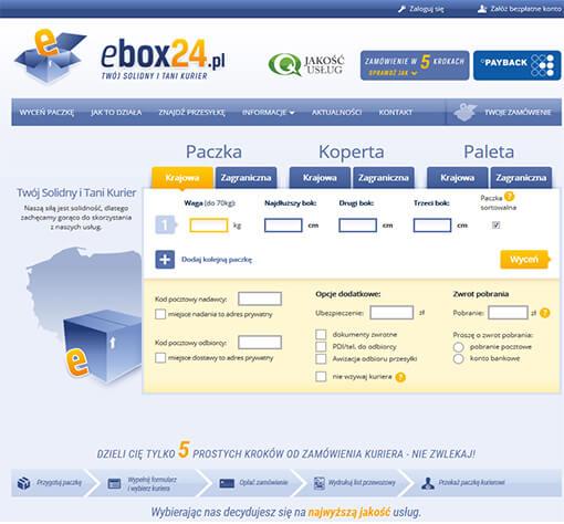 Strona internetowa brokera kurierskiego ebox24.pl