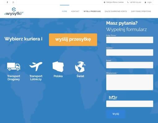 Strona internetowa brokera kurierskiego ewysylki.pl