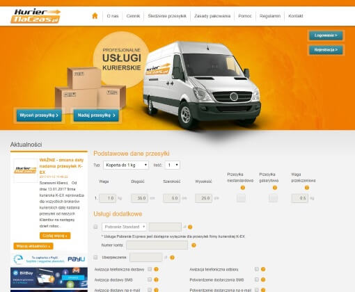 Strona internetowa brokera kurierskiego kuriernaczas.pl