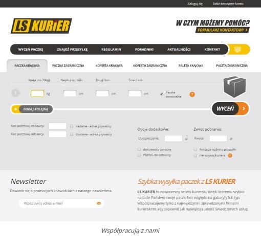 Strona internetowa brokera kurierskiego lskurier.pl