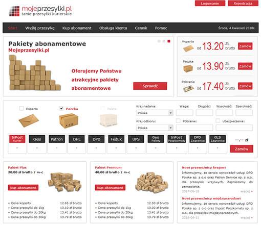 Strona internetowa brokera kurierskiego mojeprzesylki.pl