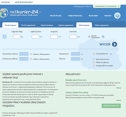 Strona internetowa brokera kurierskiego netkurier-24.pl