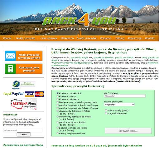 Strona internetowa brokera pack4youkurierskiego