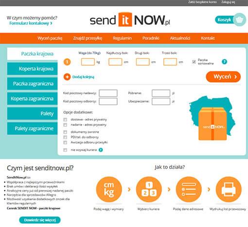 Strona internetowa brokera kurierskiego senditnow