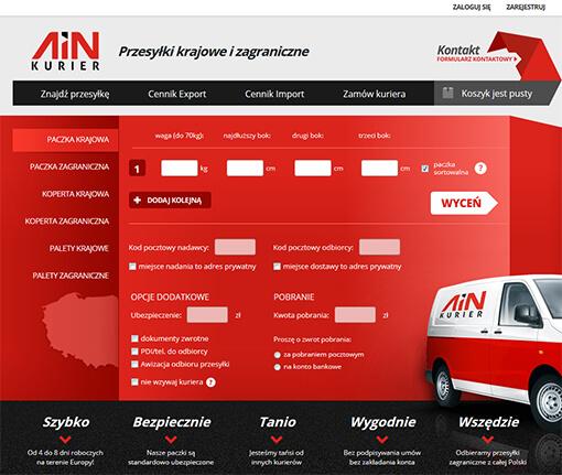 Strona internetowa brokera kurierskiego AINKurier