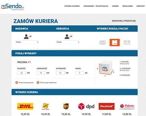 Strona internetowa brokera kurierskiego Sendo.pl
