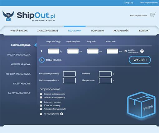 Strona internetowa brokera kurierskiego ShipOut.pl