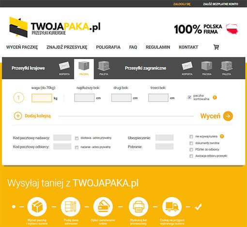 Strona internetowa brokera kurierskiego TWOJAPAKA.pl