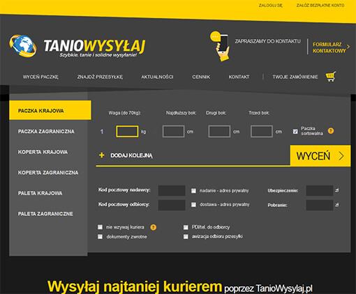 Strona internetowa brokera kurierskiego TanioWysylaj