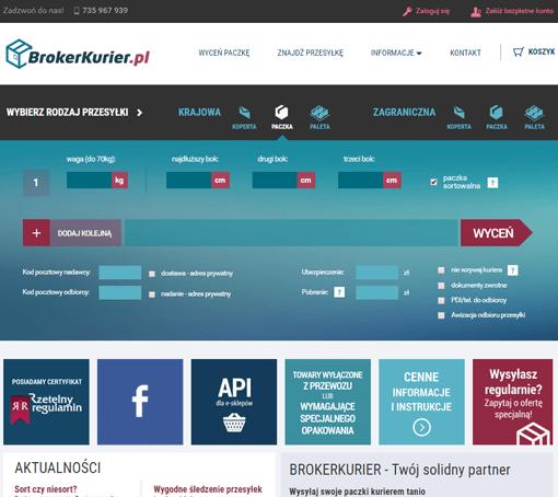 Strona internetowa brokera kurierskiego Brokerkurier.pl