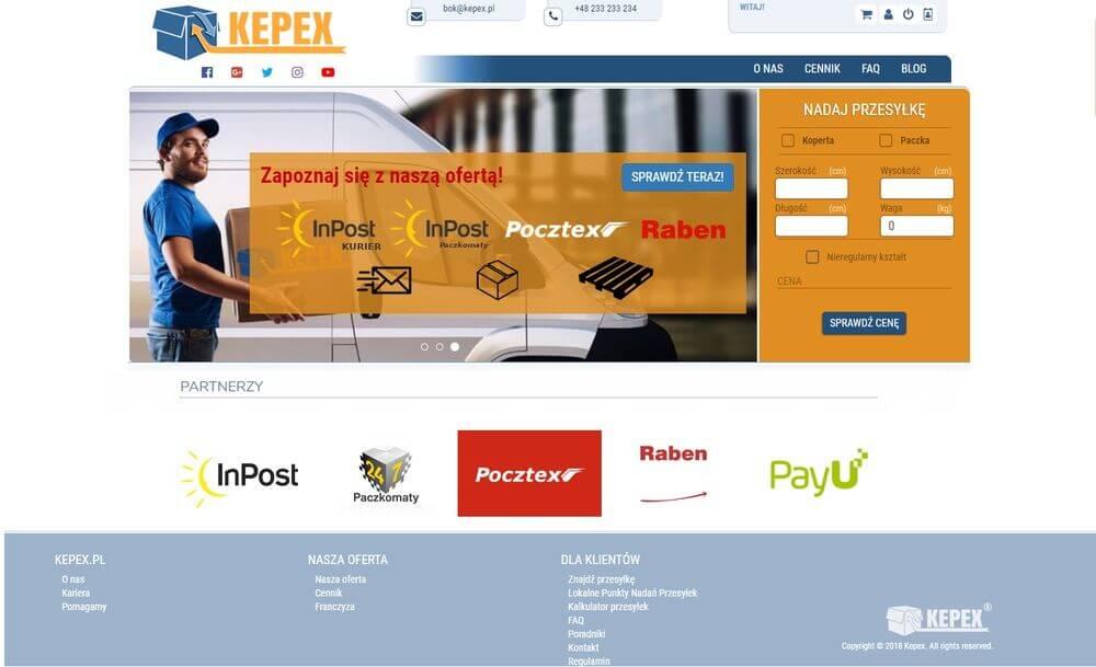 Strona WWW serwisu Kepex.pl - Broker Kurierski