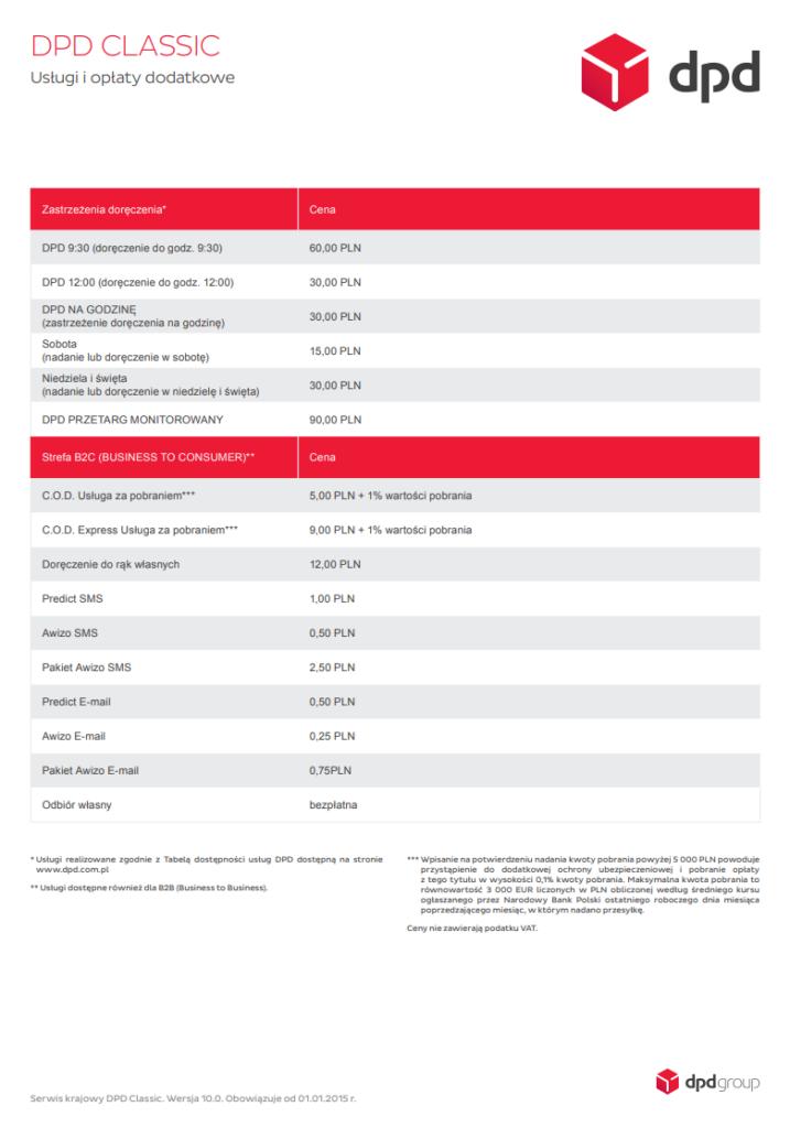 cennik usług dodatkowych kuriera DPD