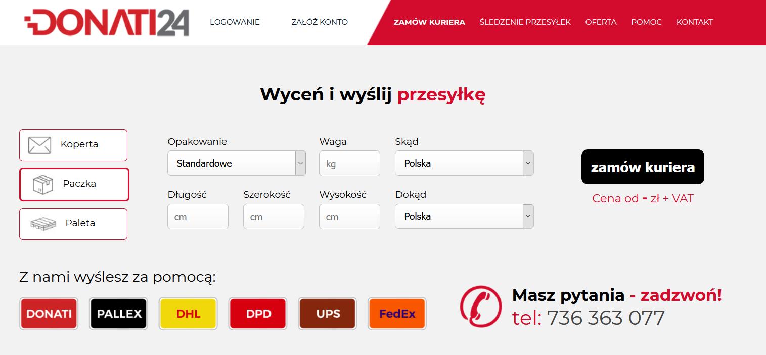 Strona internetowa brokera kurierskiego AlleKurier.pl