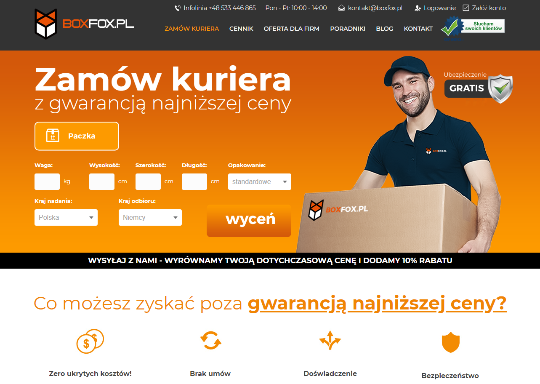 strona internetowa brokera kurierskiego boxfox
